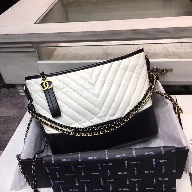 CHANEL GABRIELLE Original leather Hobo Bag A93842 white&black