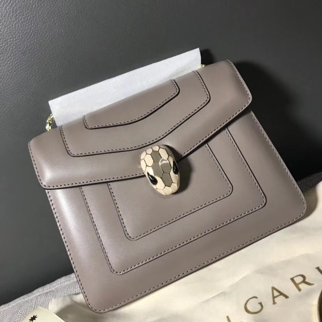 BVLGARI Serpenti Forever Flap Cover leather bag 00962 grey