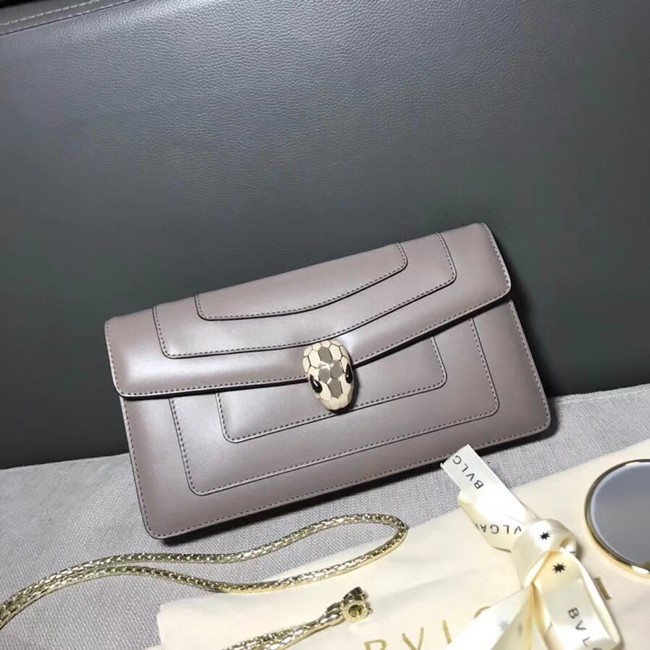 BVLGARI Serpenti Forever metallic-leather shoulder bag 4953 grey