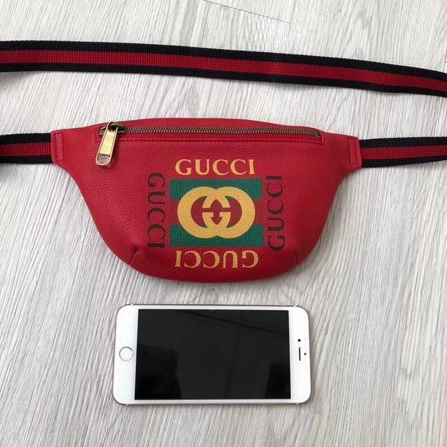 Gucci Print small belt bag 527792 red