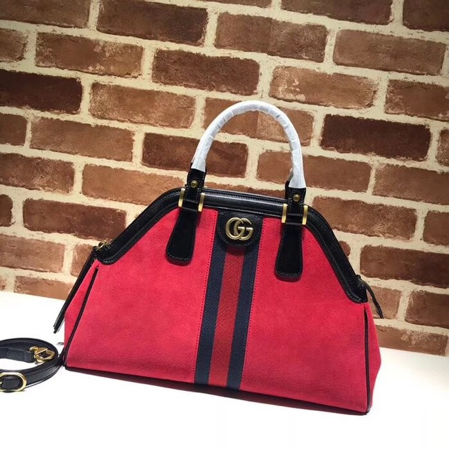 Gucci RE medium top handle bag Style 516459 red suede