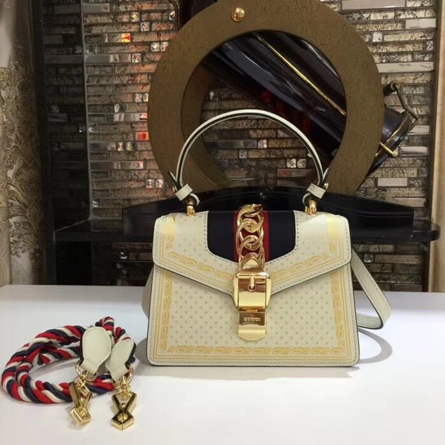 Gucci Sylvie leather mini bag 470270 cream