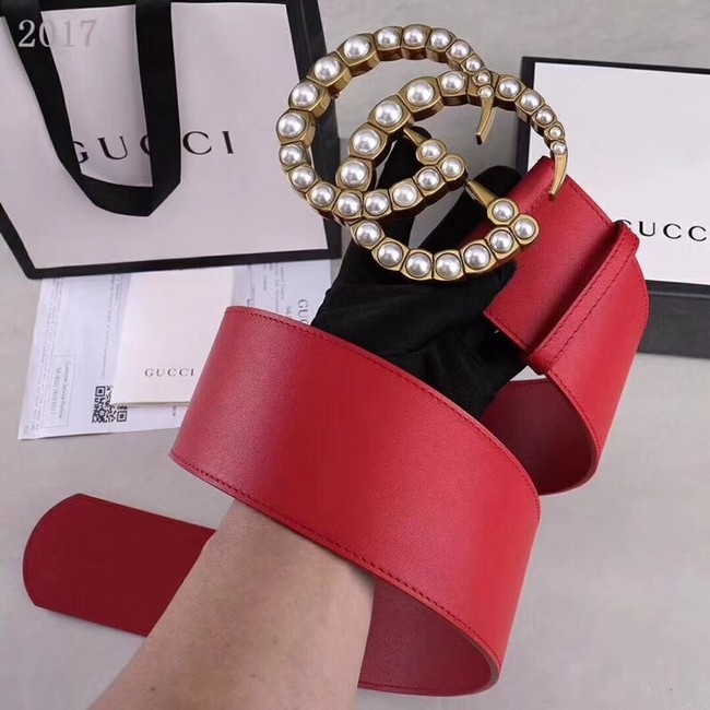 Gucci Wide leather belt with pearl Double G 453261 red