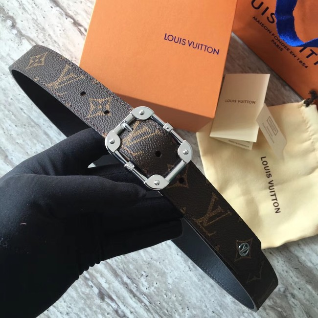 Louis Vuitton Calf leather Belt REVERSO 35MM REVERSIBLE MP036S