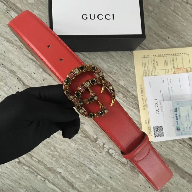 Gucci Leather belt with crystal Double G buckle 480199 red