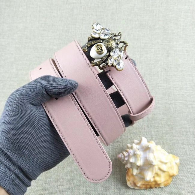 Gucci leather belt with bee 499638 pink