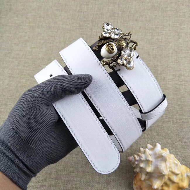 Gucci leather belt with bee 499638 white