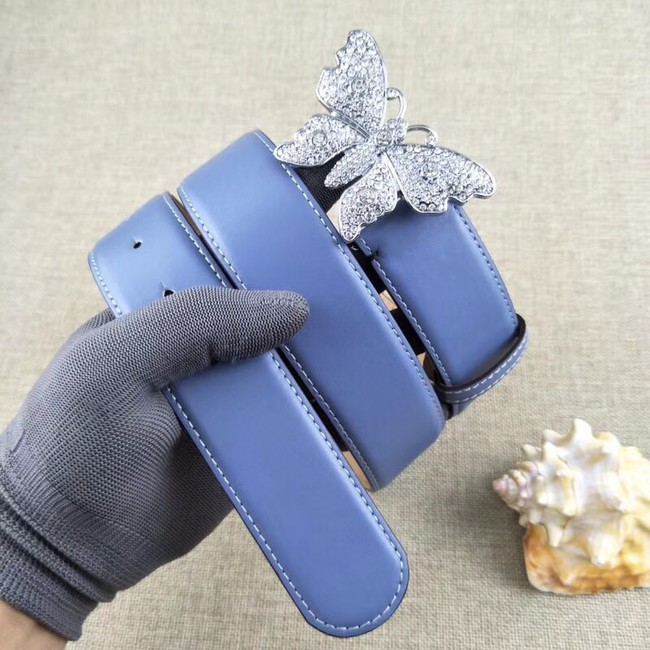 Gucci leather belt with butterfly 499553 blue