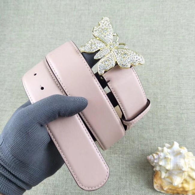 Gucci leather belt with butterfly 499553 pink