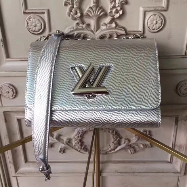 Louis vuitton original epi leather TWIST MM M50332 silver