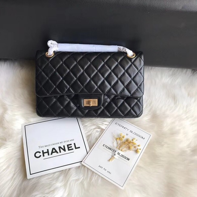Chanel Flap Original Cowhide Leather 30225 black gold chain