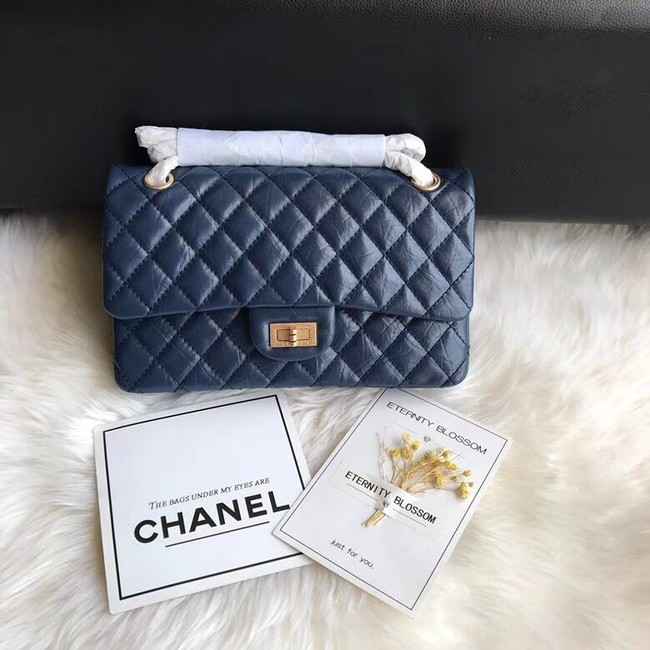 Chanel Flap Original Cowhide Leather 30225 blue gold chain