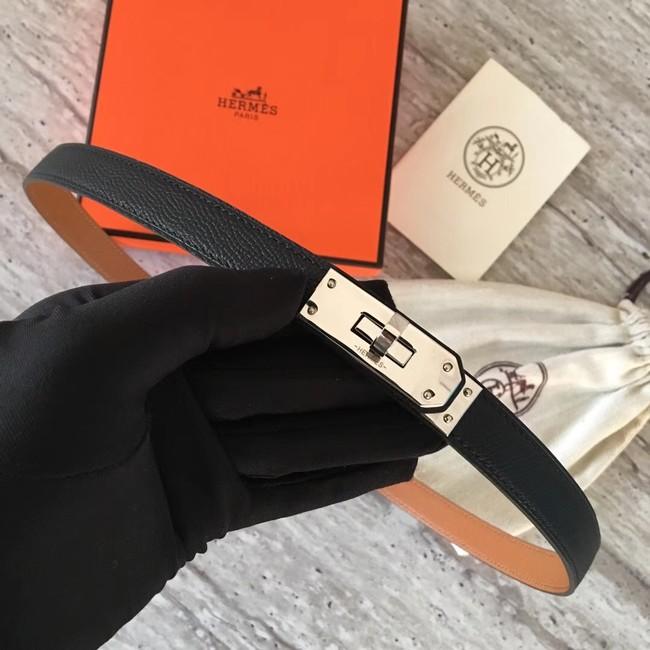 Hermes original epsom leather Kelly belt H069854 black silver plated metal