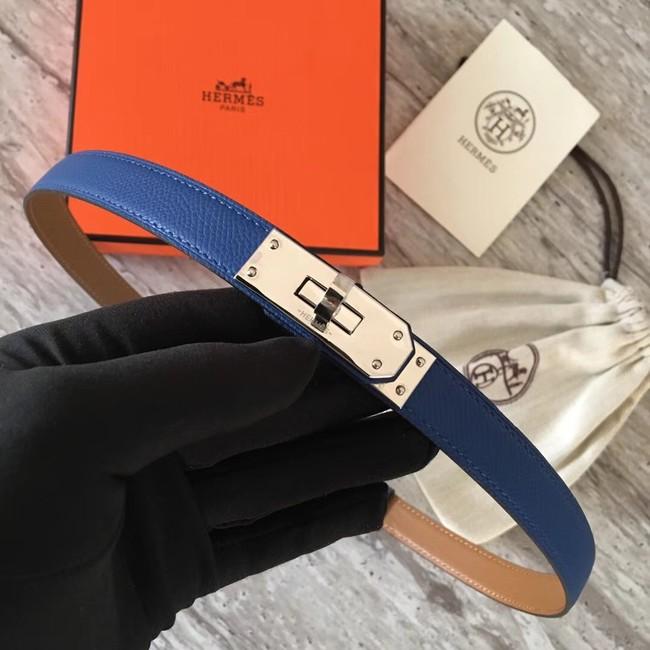 Hermes original epsom leather Kelly belt H069854 blue silver plated metal