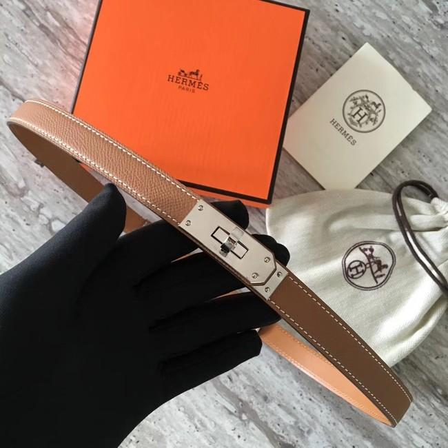 Hermes original epsom leather Kelly belt H069854 brown silver plated metal