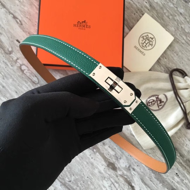 Hermes original epsom leather Kelly belt H069854 green silver plated metal