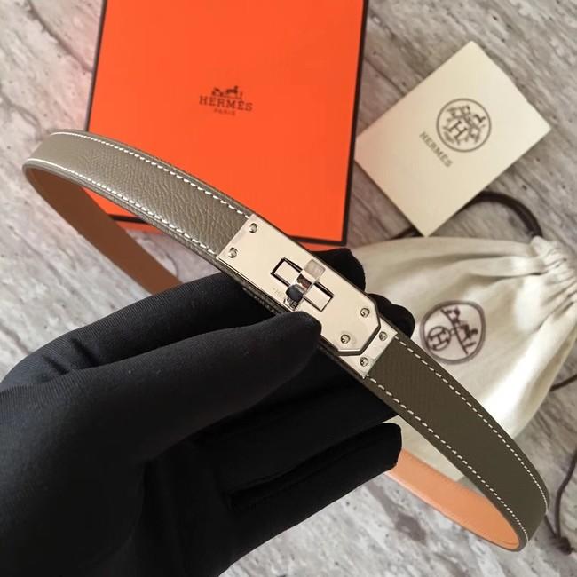 Hermes original epsom leather Kelly belt H069854 grey silver plated metal