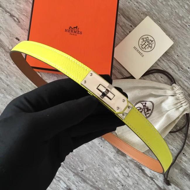 Hermes original epsom leather Kelly belt H069854 lemon silver plated metal