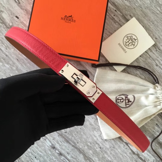 Hermes original epsom leather Kelly belt H069854 red silver plated metal