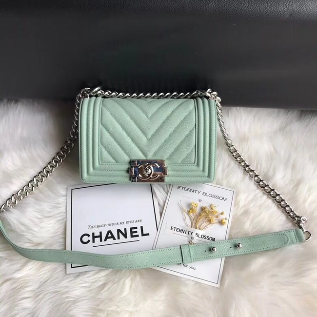Chanel Leboy Original Caviar leather Shoulder Bag A67085 Light green silver chain