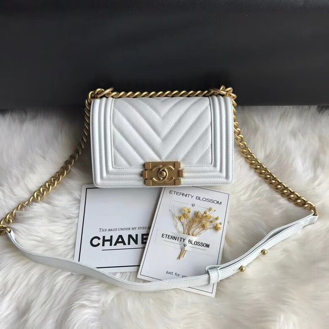 Chanel Leboy Original Caviar leather Shoulder Bag A67085 white gold chain