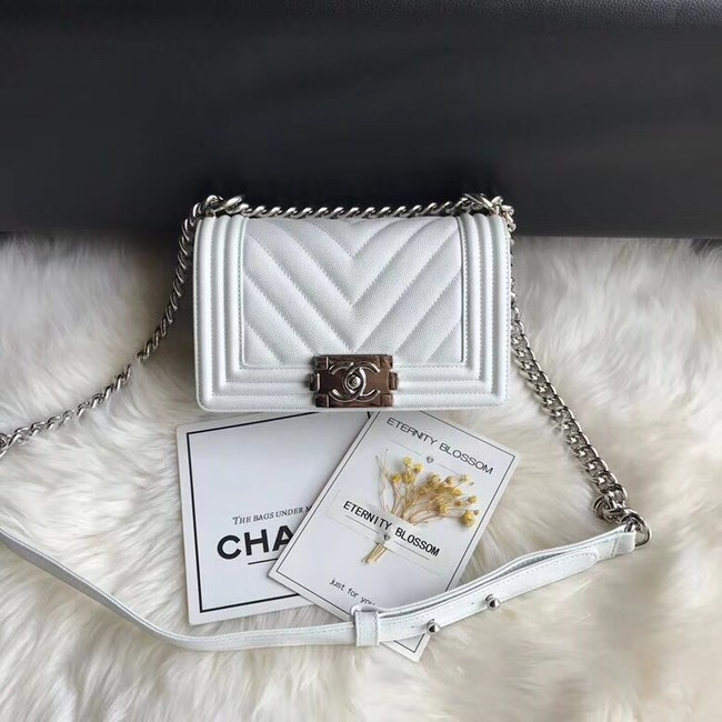 Chanel Leboy Original Caviar leather Shoulder Bag A67085 white silver chain
