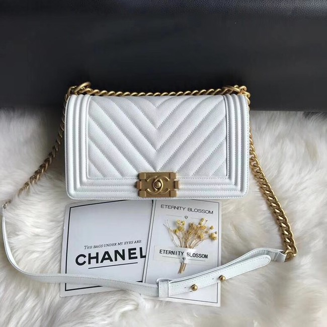 Chanel Leboy Original Caviar leather Shoulder Bag A67086 white gold chain