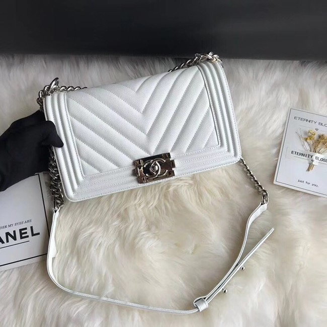 Chanel Leboy Original Caviar leather Shoulder Bag A67086 white silver chain