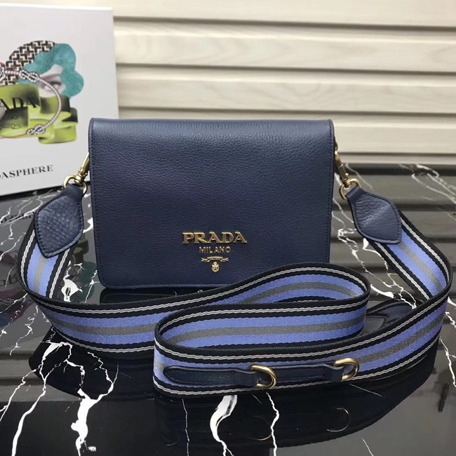 Prada calf leather shoulder bag 1BD102 dark blue