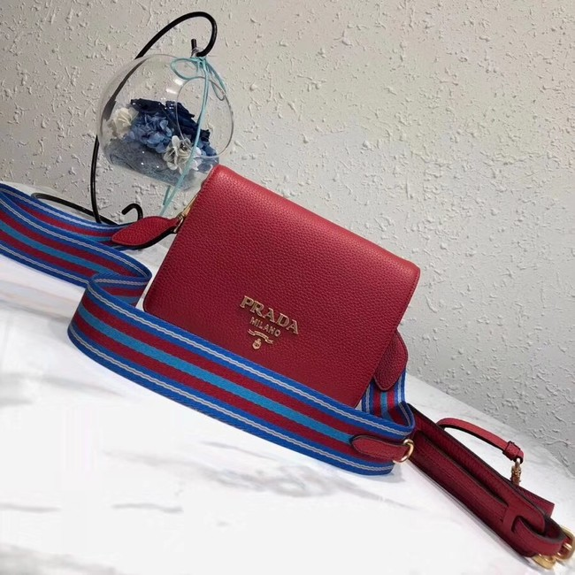 Prada calf leather shoulder bag 1BD102 red