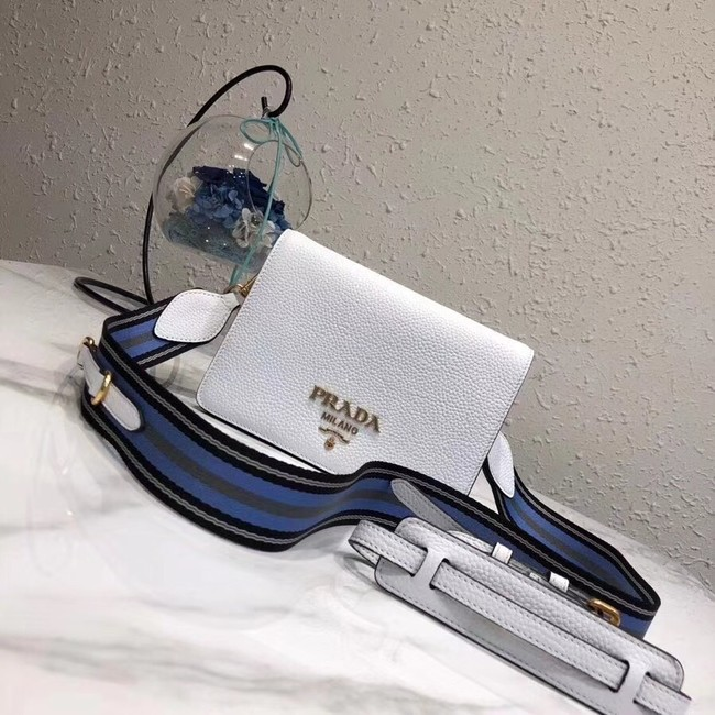 Prada calf leather shoulder bag 1BD102 white