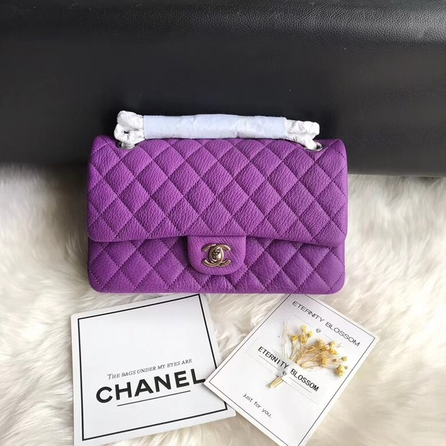 Chanel Flap Shoulder Bag Original Deer leather A1112 purple silver chain