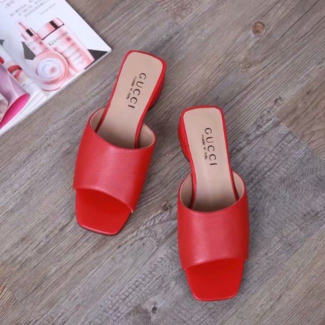 Gucci lady slippers GG1377LD red Heel high 3CM