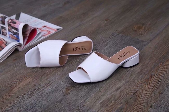 Gucci lady slippers GG1377LD white Heel high 3CM