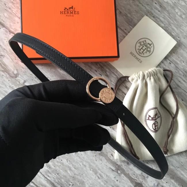 Hermes Mini belt buckle & Reversible leather strap 13 mm H07142 black