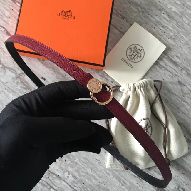 Hermes Mini belt buckle & Reversible leather strap 13 mm H07142 fuchsia