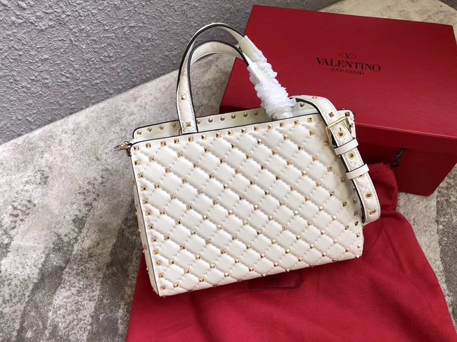 VALENTINO Candystud quilted leather tote 0061 white