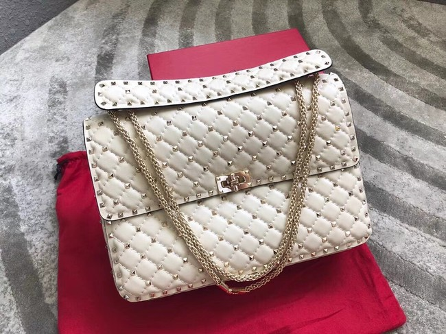 VALENTINO Spike quilted leather large shoulder bag 0027 white