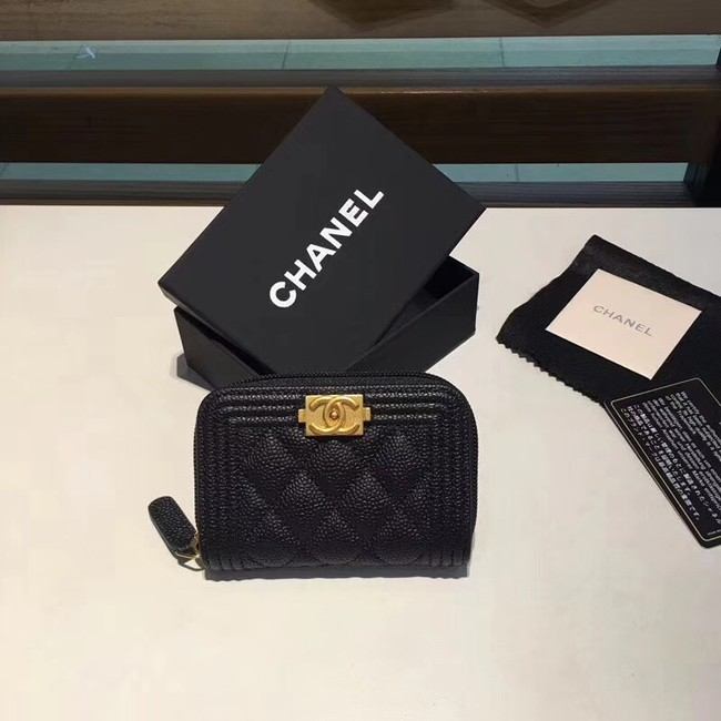 BOY CHANEL Coin Purse A80602 black