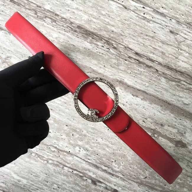 Chanel Original Calf leather Belt 56990 red