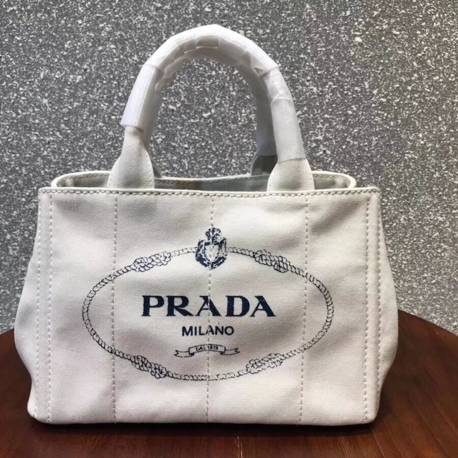 Prada Fabric Printed Tote 1BG439 white