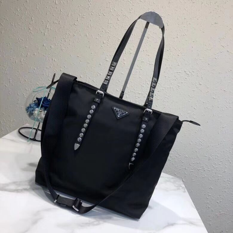 Prada Saffiano leather and nylon tote 1BG212 black