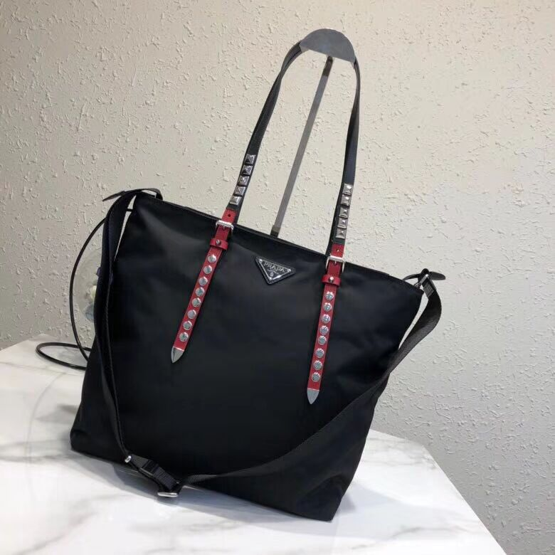 Prada Saffiano leather and nylon tote 1BG212 black&Red