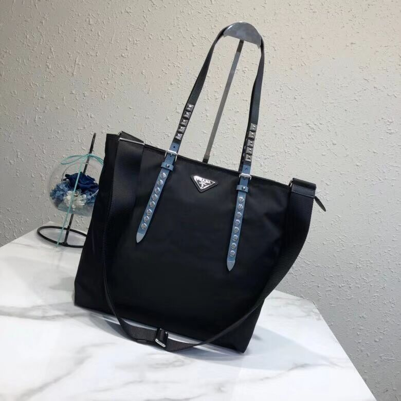 Prada Saffiano leather and nylon tote 1BG212 black&blue