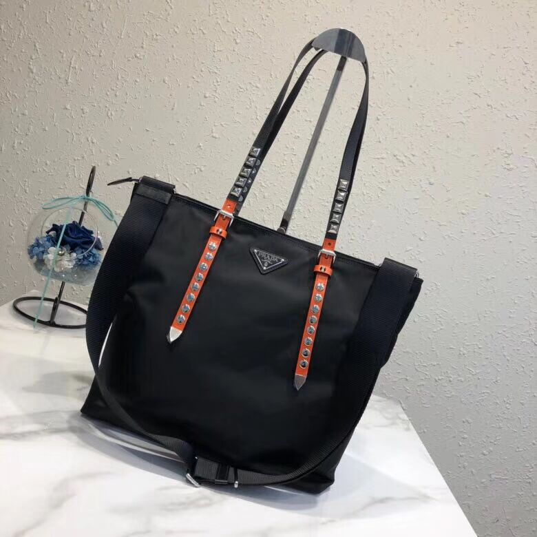 Prada Saffiano leather and nylon tote 1BG212 black&orange