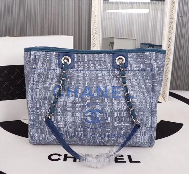 Chanel Canvas Shopping Bag Calfskin & Silver-Tone Metal A23556 blue