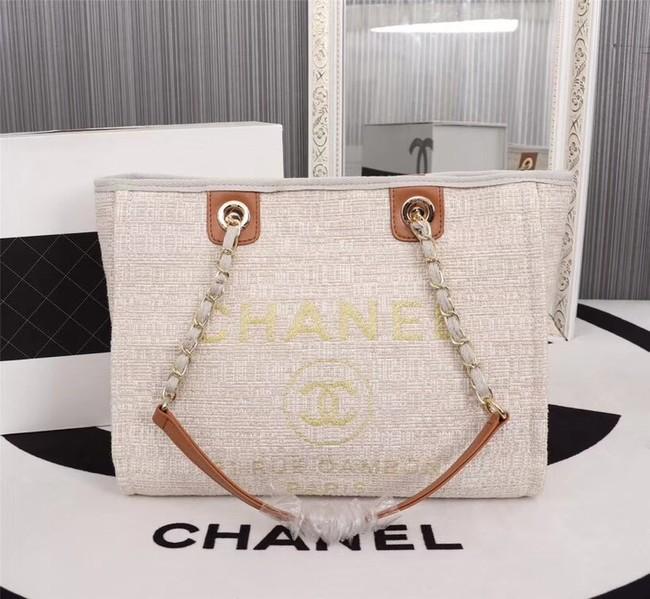 Chanel Canvas Shopping Bag Calfskin & Silver-Tone Metal A23556 creamy