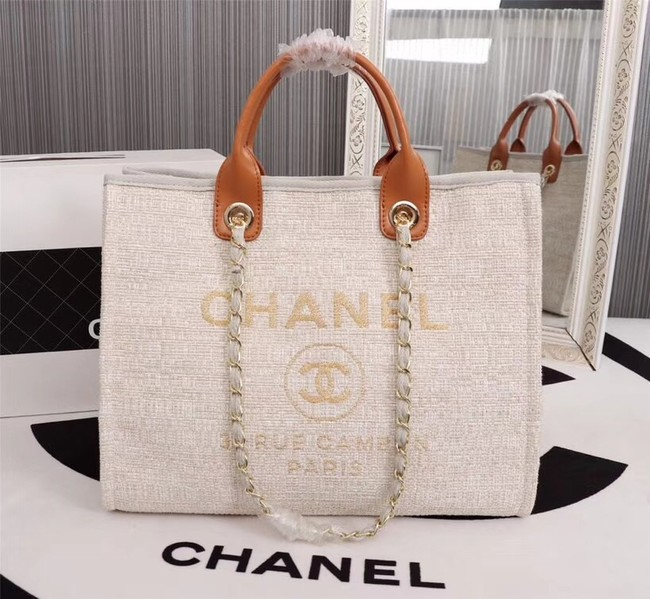 Chanel Canvas Tote Shopping Bag 8099 off-white