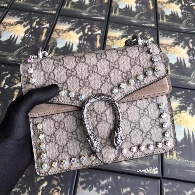 Gucci Dionysus GG Supreme canvas crystal mini bag 421970 apricot