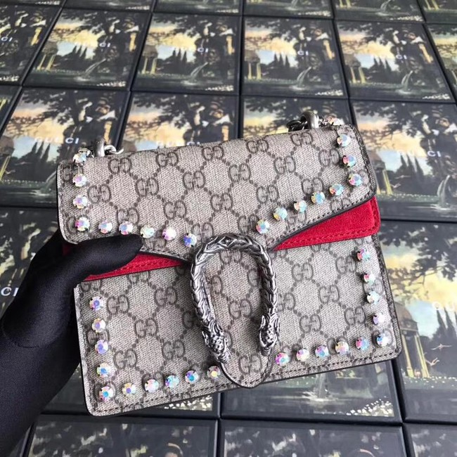 Gucci Dionysus GG Supreme canvas crystal mini bag 421970 red